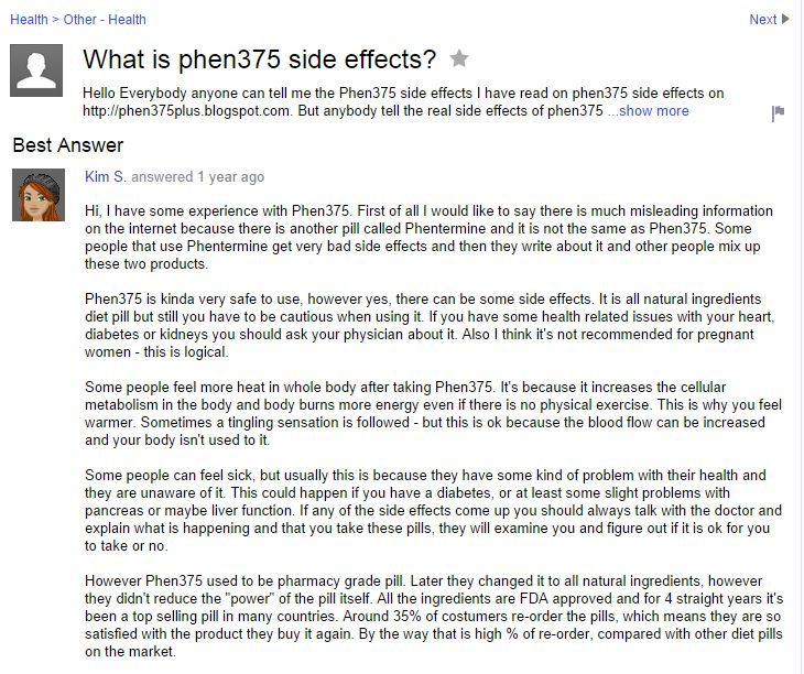 yahoo answers phen375 side effects
