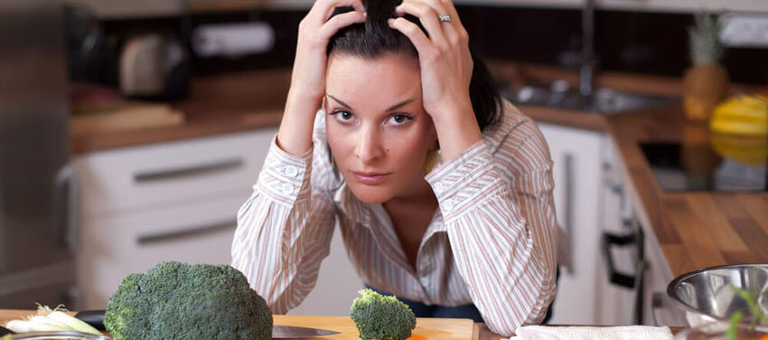stressed woman on low carb diet